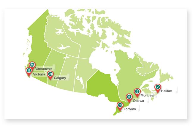 감자유학 캐나다 학교 지도이미지