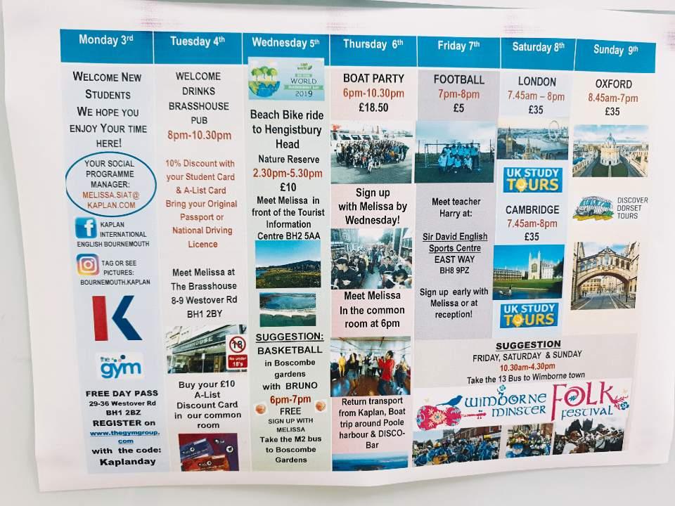 Bournemouth-kaplan - social programme